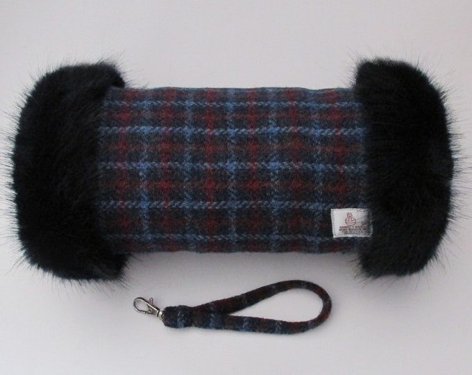 Harris Tweed 100% Blue & Red Check Hand Muff with Navy Faux Fur Trim