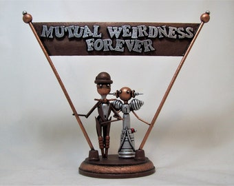 Wood Banner Topper Real Handmade Old Time Bride Groom Wedding Cake Topper Bowler Hat Rich Dark Sepia Colors Mutual Weirdness Forever Momento
