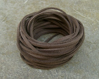 10Yds (900cm or 30Ft)- Cocoa (Mocha) Brown Faux Suede Cord, Lace (FS3-26)