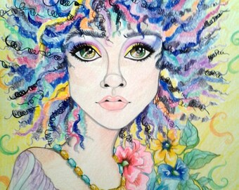 True Colors ACEO/ATC Artist Trading Card Fantasy Woman's Face by Leslie Mehl
