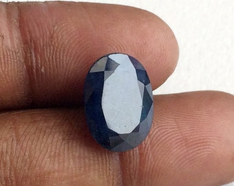 1 Pc 9.6x12.5mm Blue Sapphire Faceted Oval Cut Stone,Glass Filled Sapphire, Loose Ring Size Sapphire - PGPA227