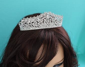 Silver Bridal Tiara, Crystal Bridal Crown, Rhinestone Tiara, Royal Wedding Headpiece, Bridal Hair Accessory, Headband, TI-007