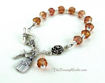 St Therese Rosary Bracelet Chaplet Pink The Little Flower Miraculous Medal Single Decade Sacred Heart Good Shepherd Holy Family Spirit