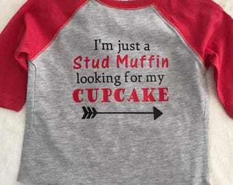 Stud Muffin Looking for my Cupcake/Valentine Shirt/Baseball Tee/Boys/Toddler/Infant/Red/Love/Be Mine