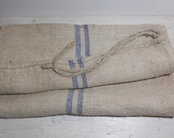 Vintage European Grain Sack - Blue Stripe