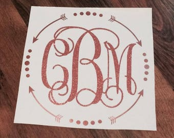 Arrow circle monogram decal