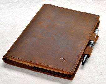 Refillable Leather journal  notebook leather book cover(Free stamp)