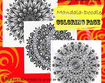 Flower Garden Pack of Three Mandala Coloring Page