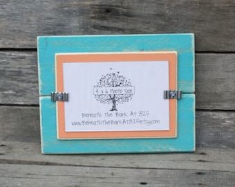 4x6 Picture Frame - Distressed Wood - Holds a 4x6 Photo - Aqua and Tangerine Orange
