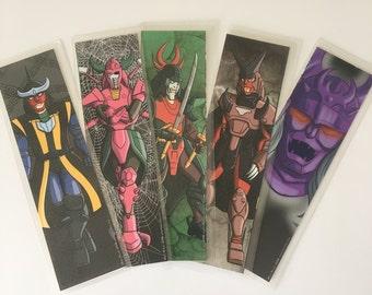 Tous les cinq dynastie foncée Mini estampes-Ronin Warriors - feuilleté ensemble - signet taille-SAVE 5 DOLLARS
