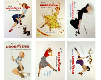 scale vintage Goodyear slip on sole shoe store pin up posters