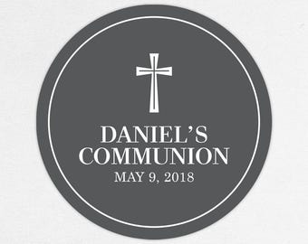 First Communion Favor Labels, First Communion Stickers, Printed Communion Tag, First Holy Communion Favor Tag, Boy Communion, Daniel, Gray