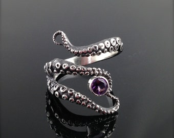 WIcked Tentacle Ring with Amethyst, Wedding Band, Engagement Ring, Occasion
