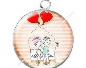 Pendant cabochon resin love couple Valentine's day 8