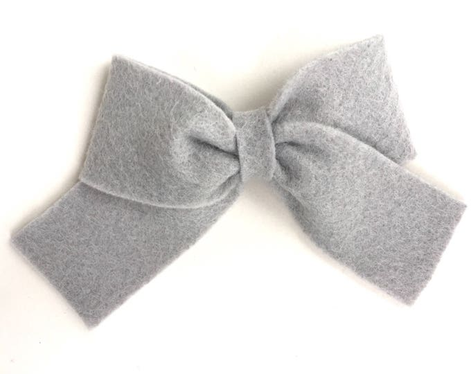 Gray felt hair bow - felt bows, hair bows, bows, hair clips, hair bows for girls, hair clip, hair clips for girls, baby bows, felt hair bow