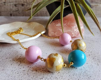 Chunky Bead necklace, Pale pink and turquoise necklace, Statement jewellery, Bold neckalce, Colourful Necklace, Gold Chain,  Gift for her