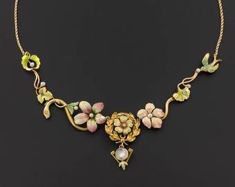 Antique Pin Conversion Necklace | Art Nouveau Enamel Flower Necklace | 10k and 14k Gold Statement Necklace
