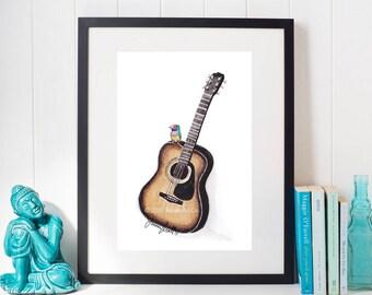 Finch on Acoustic Guitar Art Print, Watercolor Illustration, Childrens Art, Nursery Wall Art, Kids Wall Art, Wall Decor, Frameable Art