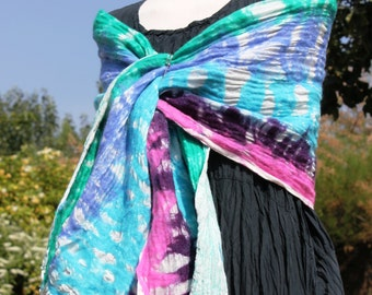 Nuno Felted wool & linen gauze shawl scarf wrap -  jade blue pink purple white - tropical colours - lagenlook