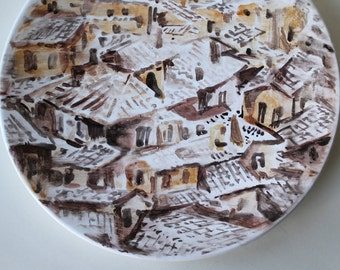 Snow-covered Roofs Hand Painted Ceramic Plate, ceramic platter, wall decor, landscape plate, wall plate, white brown platter,art plate,Siena