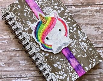 Planner Band, Book Band, Unicorn Planner Band, Unicorn Book Band, Unicorn Bookmark, Unicorn Book Mark, Glitter Unicorn Bookmark