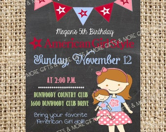 DIY American Girl Light Brown Hair and Eyes***Party PRINTABLE PERSONALIZED Invitation***