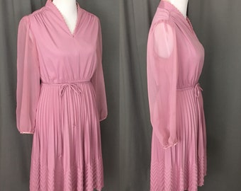 Women's Vintage 1970's-1980's Rose Pink Secretaries Dress with Sheer Long Sleeves