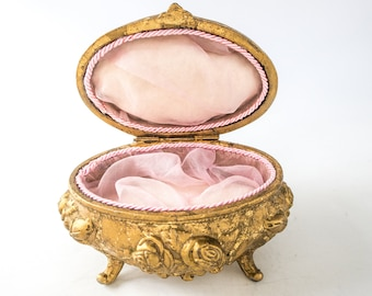 Antique Art Nouveau Jewel Casket Box With Silk Lining Gold Ormolu Victorian Trinket Box NB Rogers 1904
