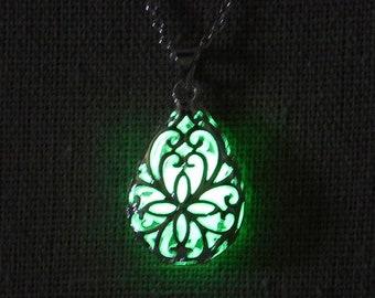 "Teardrop silver filigree pendant that glows in the dark - light green - on 18"" silver chain"