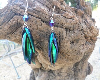 Mini Purple Jeweled Mermaid Tail - Egyptian Beetle Wings - Gift for Her