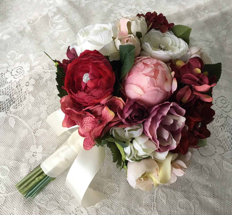 Burgundy Wedding Flower Bouquet: Wedding Bouquet Bridal Bouquet Blush & Burgundy Wedding