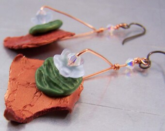 Copper Polymer Clay Shard Earrings