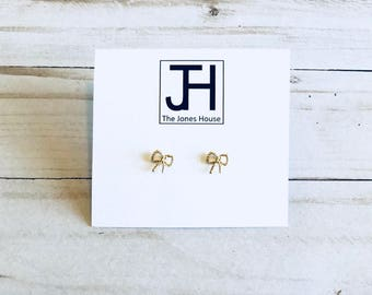 Gold Bow Stud Earrings, Pretty Earrings, Bridesmaid Gift, Birthday Gift, Mothers Day Gift, Jewelry, Gold, The Jones House