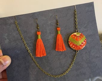 Bohemian jewelry, tassel jewelry set, tassel earrings and necklace