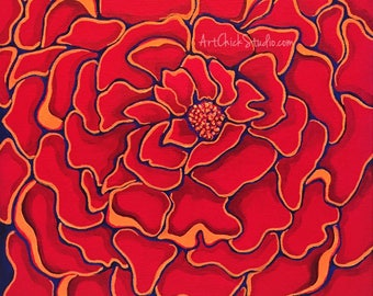 Red Flower Giclee Print 10x10 Mixed Media