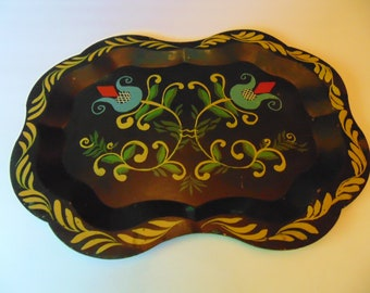 Pa.Dutch Tulip Toleware Tray,signed Hazel Skidmore