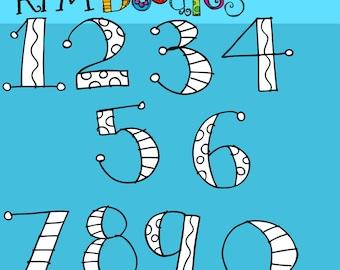 KPM number soup digital  black line stamps