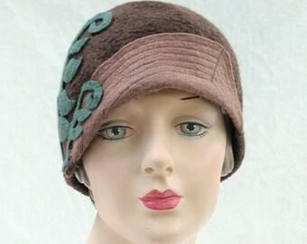 Brown Cloche - Cloche Hat with Fern Applique - Brown Hat - Cloche Hat - Hat With Fern Pattern - Hand Felted Wool Hat