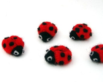 5 needle felted Ladybugs - ladybird - Lucky Ladybug applique - wool felt insects