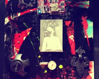 Deep Draw - altered art mixed media collage assemblage