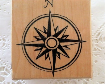 Double Ring Compass Rubber Stamp ~ Travel Journal Direction ~ Wood Mounted Stamp (B)