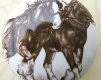 Ceramic Cabinet Knobs Horse Clydesdale Pair Kitchen Hardware Pulls