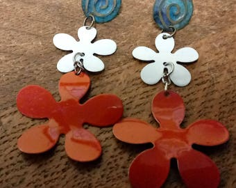 1960s Tin Flower Assemblage Earrings