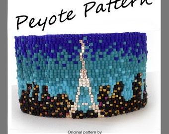 Paris Lovers Bracelet - For Personal Use Only PDF Peyote Pattern , Paris Peyote Bracelet, Eiffel Tower Peyote Beadwoven, skyline bracelet