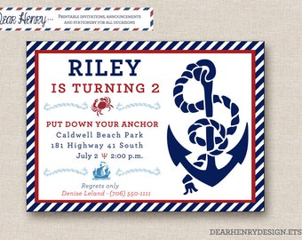 Nautical Birthday Invitation - PRINTABLE Invite with Anchor - Pool Party - Beach - Red White Blue for Boy