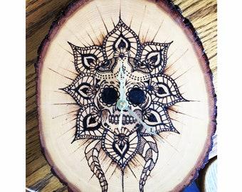 Wood Burned Skull Clock