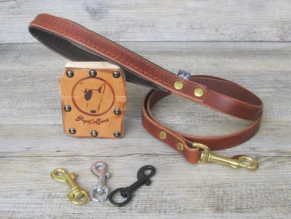 Dog Leash in Light Brown Leather with Soft Padded Handle, Brass, Nickel or Black Hardware, Custom Lenght and Width, Handmade Dog Lead