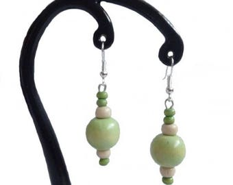 Wooden lime and white earrings