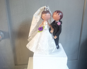 Shabby chic personalised wooden peg doll wedding cake topper
