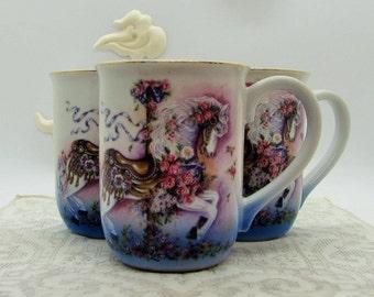 set of three carousel pony mugs